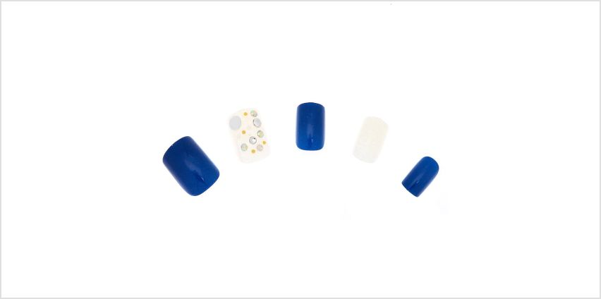 Go to Product: Aurora Borealis Square Bling Faux Nail Set - Navy, 24 Pack from Claires