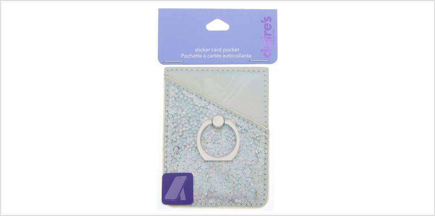 Go to Product: Holographic Tech Sticker Card Pocket with Ring Stand - Silver from Claires