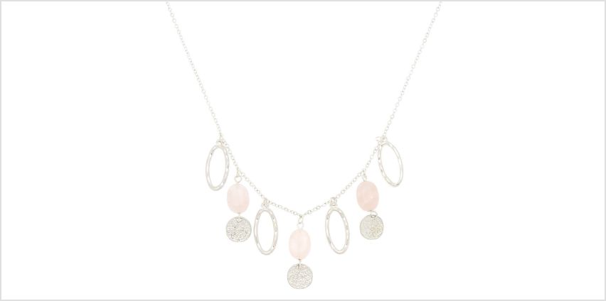 Go to Product: Silver Hammered Stone Statement Necklace - Pink from Claires