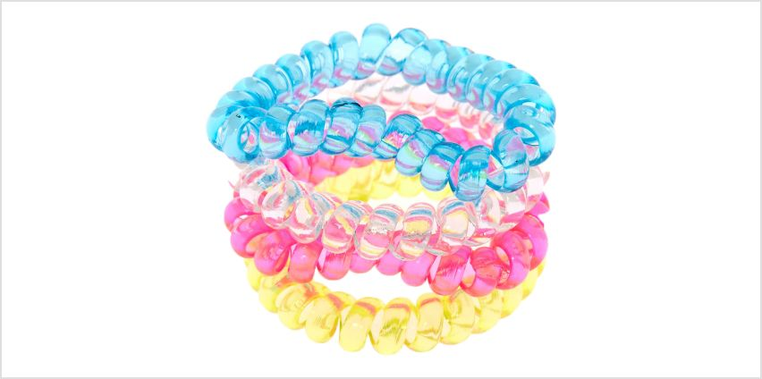 Go to Product: Neon Heart Spiral Hair Bobbles - 4 Pack from Claires