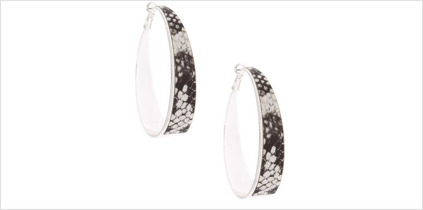 Go to Product: Silver 60MM Snake Skin Hoop Earrings from Claires