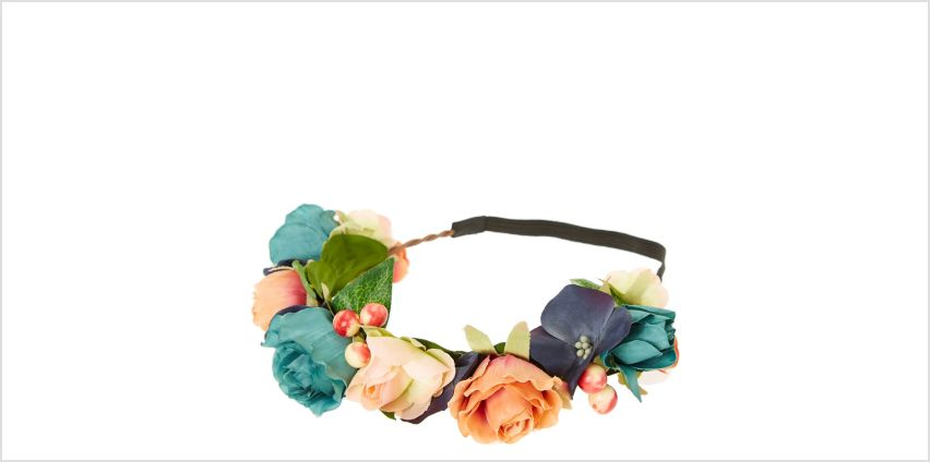 Go to Product: Mixed Flower Crown Headwrap - Peach from Claires