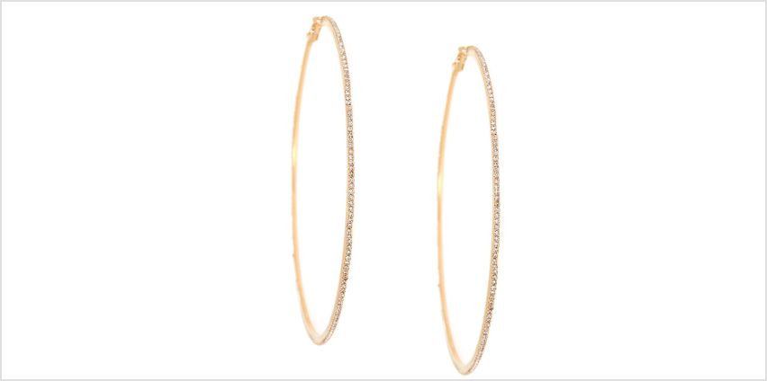 Gold Glass Rhinestone 100MM Hoop Earrings from Claires