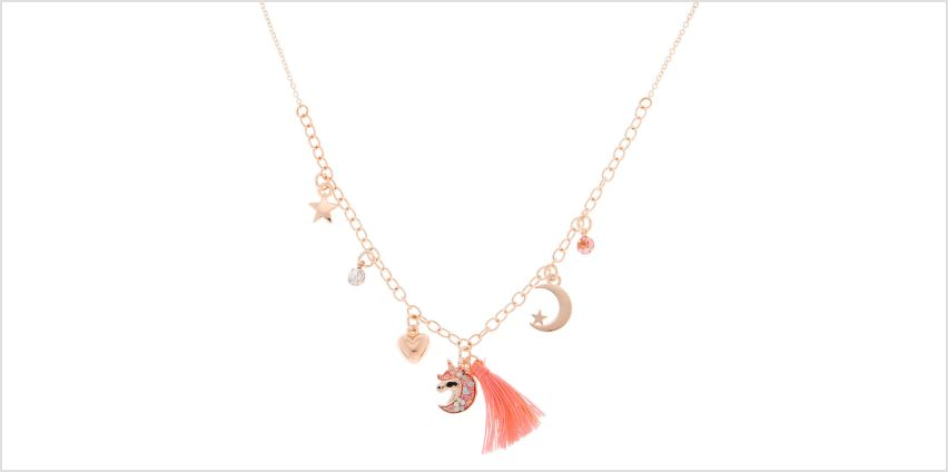 Go to Product: Rose Gold Celestial Tassel Statement Necklace - Pink from Claires