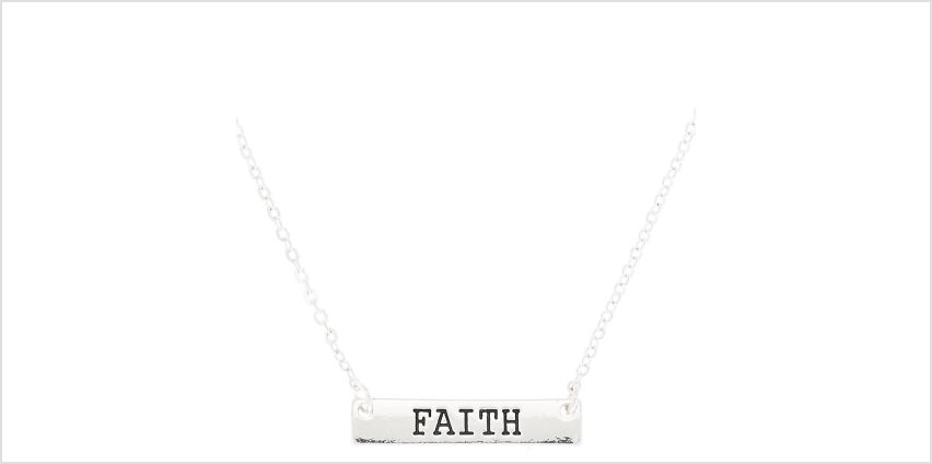 Go to Product: Silver Faith Bar Pendant Necklace from Claires
