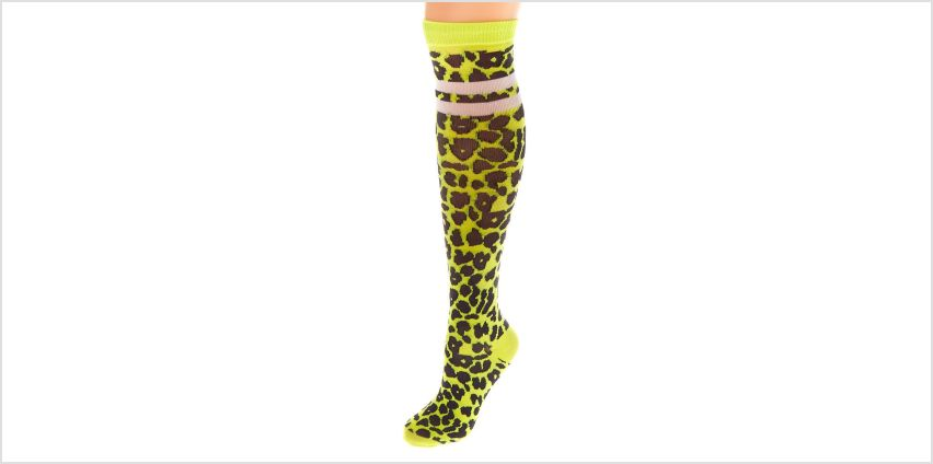 Go to Product: Neon Leopard Print Knee High Socks - Yellow from Claires