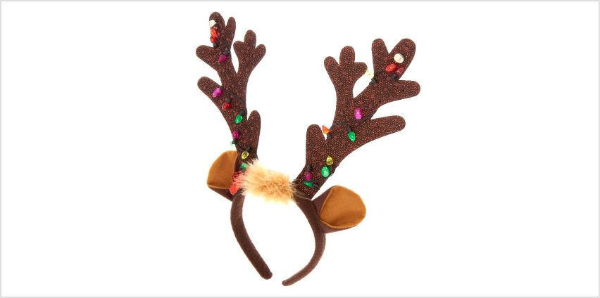 Go to Product: Light Up Reindeer Antlers Headband - Brown from Claires
