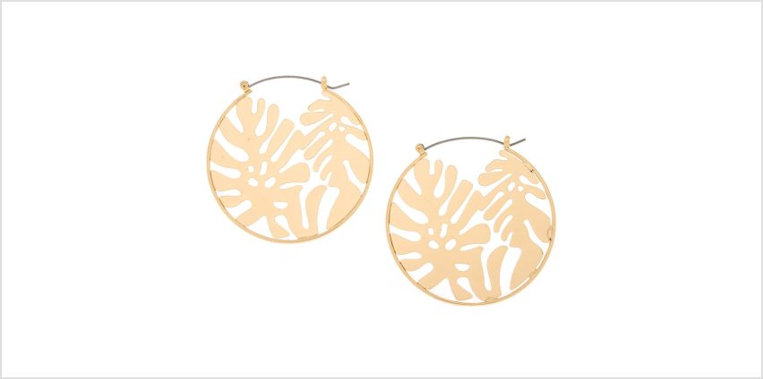 Go to Product: Gold 50MM Palm Leaf Hoop Earrings from Claires