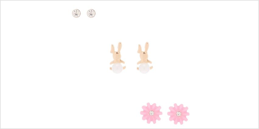 Go to Product: Gold Bunny Hop Stud Earrings - 3 Pack from Claires