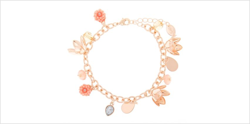 Go to Product: Rose Gold Floral Charm Bracelet - Pink from Claires
