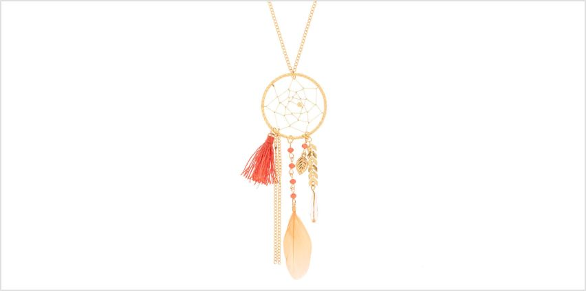 Go to Product: Gold Dreamcatcher Long Pendant Necklace - Coral from Claires