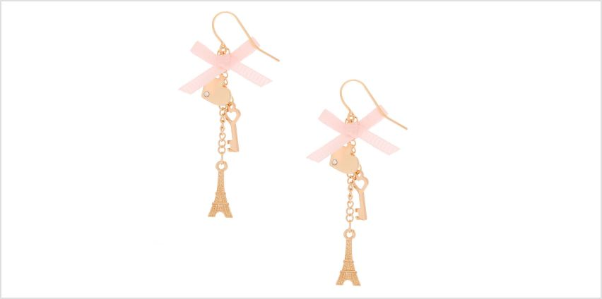 "Go to Product: Gold 2"" Paris Romance Drop Earrings from Claires"