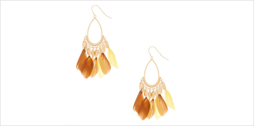 """Go to Product: Gold 2"""" Feather Teardrop Drop Earrings - Yellow from Claires"""