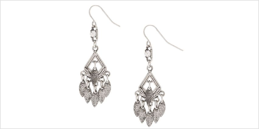 """Go to Product: Silver 1.5"""" Diamond Dangle Drop Earrings from Claires"""