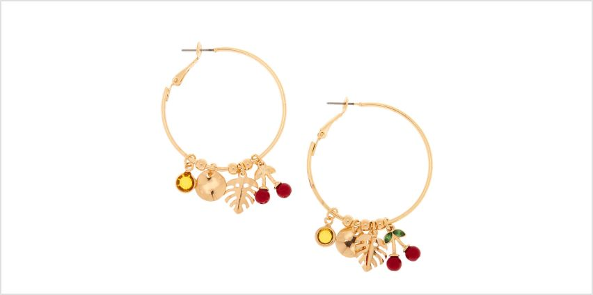Go to Product: Gold 40MM Cherry Leaf Hoop Earrings from Claires