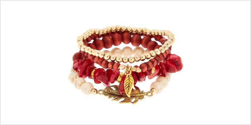 Go to Product: Desert Bead Stretch Bracelets - Red, 4 Pack from Claires