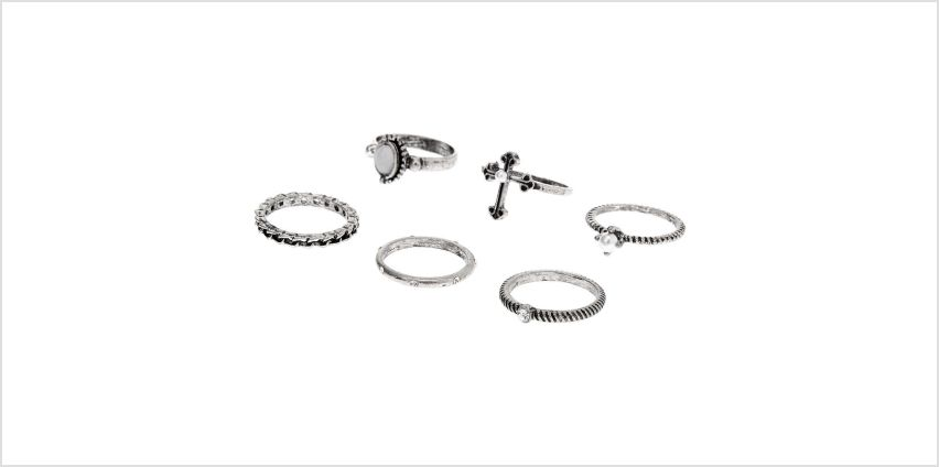 Go to Product: Silver Gothic Glam Rings - 6 Pack from Claires