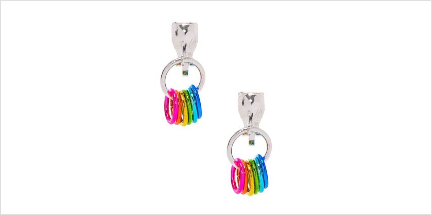 """Go to Product: 1"""" Rainbow Rings Clip On Drop Earrings from Claires"""