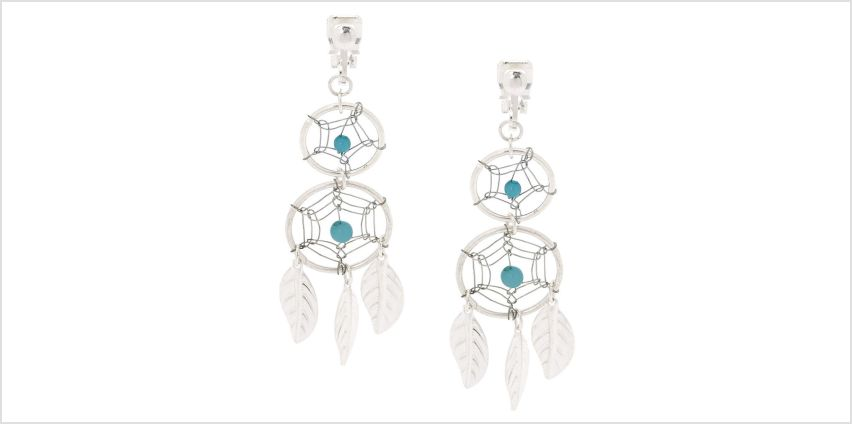 """Go to Product: Silver 2"""" Double Dreamcatcher Clip On Drop Earrings - Turquoise from Claires"""