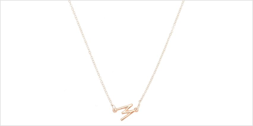 Go to Product: Mixed Metal Sideways Initial Pendant Necklace - W from Claires