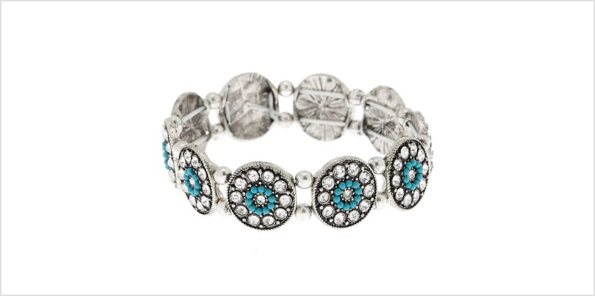 Go to Product: Silver Medallion Stretch Bracelet - Turquoise from Claires