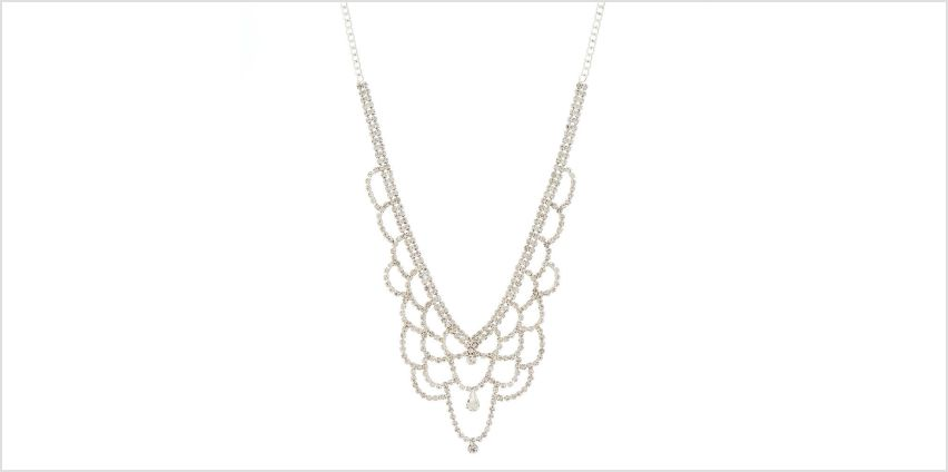 Go to Product: Silver Glass Rhinestone Scallop Statement Necklace from Claires