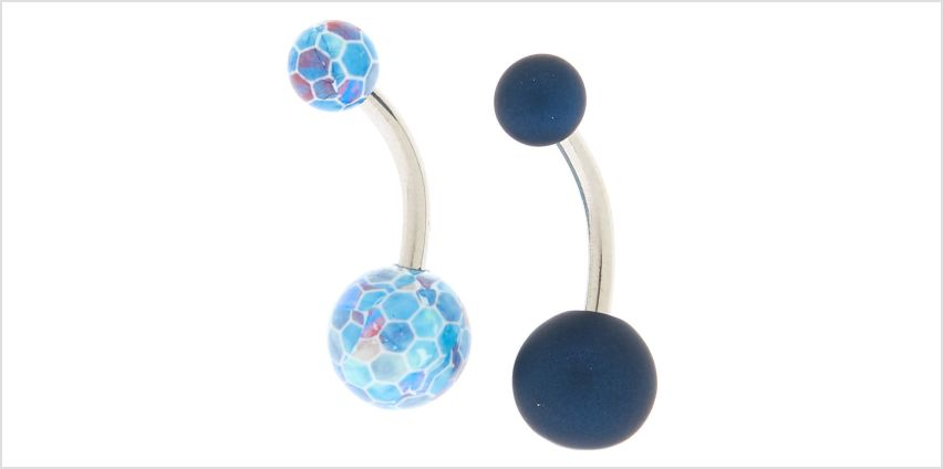 Go to Product: Silver 14G Mermaid Matte Belly Rings - Navy, 2 Pack from Claires