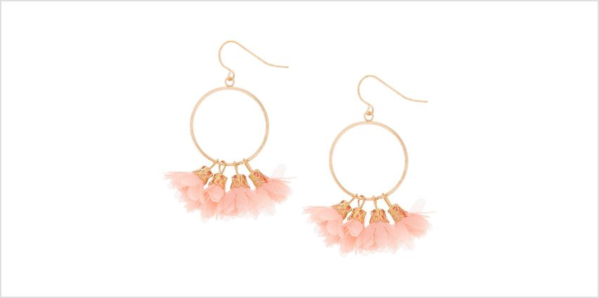 "Go to Product: Gold 1.5"" Drop Earrings - Coral from Claires"