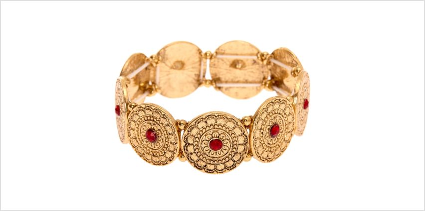 Go to Product: Gold Medallion Stretch Bracelet - Red from Claires