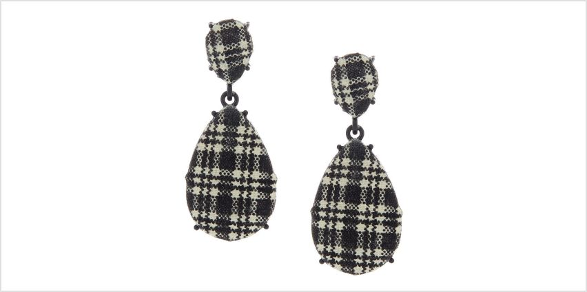 "Go to Product: 2"" Gingham Teardrop Drop Earrings - Black from Claires"