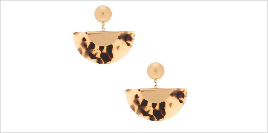 "Go to Product: Gold 2"" Tortoiseshell Crescent Drop Earrings from Claires"
