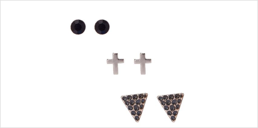 Sterling Silver Cross Stud Earrings - 3 Pack from Claires