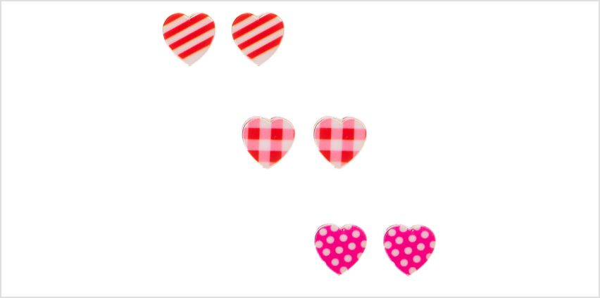 Go to Product: Silver Patterned Heart Stud Earrings - 3 Pack from Claires