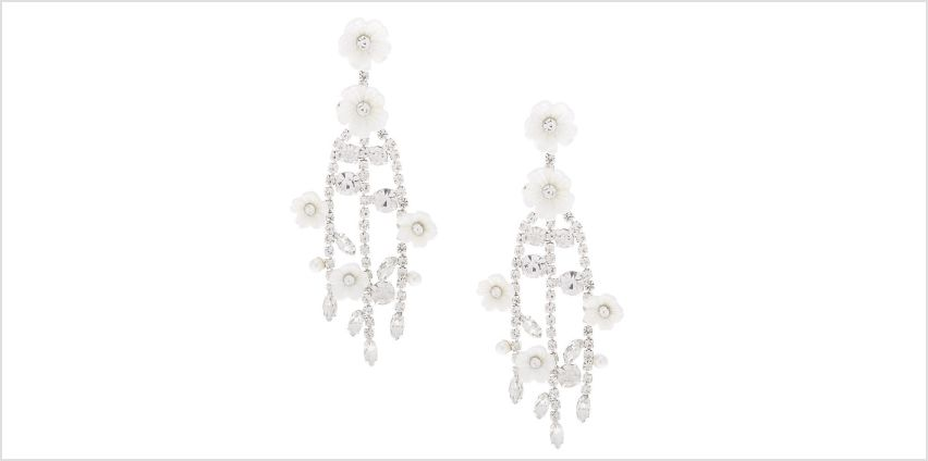 """Go to Product: Silver 2.5"""" Rhinestone Flower Branch Drop Earrings from Claires"""