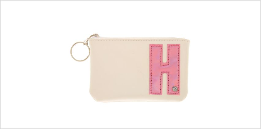 Go to Product: White Faux Leather Pink Initial Coin Purse - H from Claires