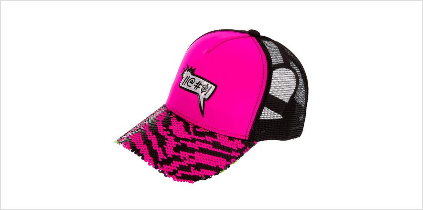 Go to Product: !!@#$! Word Bubble Reversible Sequin Zebra Trucker Hat - Pink from Claires