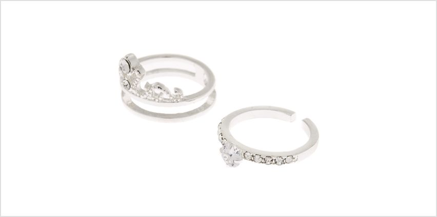 Go to Product: Silver Cubic Zirconia Tiara Stackable Rings - 2 Pack from Claires