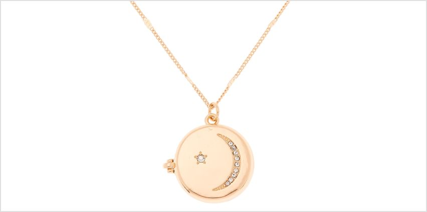 Go to Product: Gold Celestial Long Locket Pendant Necklace from Claires