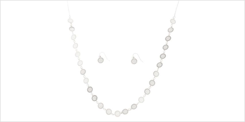 Go to Product: Silver Filigree Disc Jewellery Set from Claires