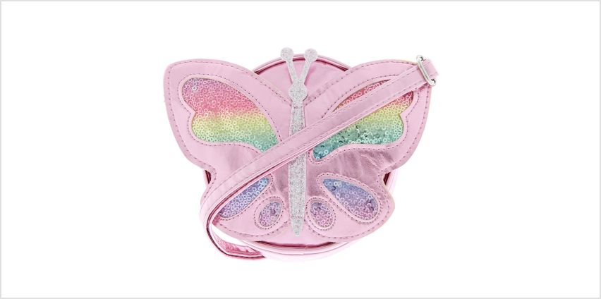Claire's Club Sequin Butterfly Crossbody Bag - Pink from Claires