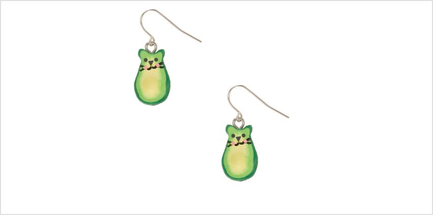 "Go to Product: 1"" Avocado Cat Drop Earrings - Green from Claires"