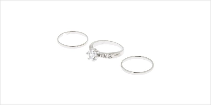 Go to Product: Silver Sleek & Embellished Rings - 3 Pack from Claires