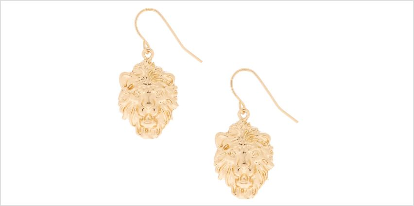 "Go to Product: Gold 1"" Lion Drop Earrings from Claires"