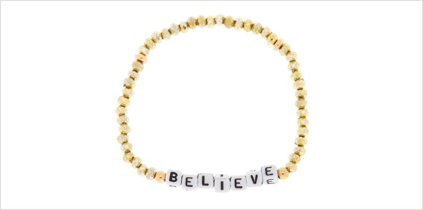 Go to Product: Gold Believe Beaded Stretch Bracelet from Claires