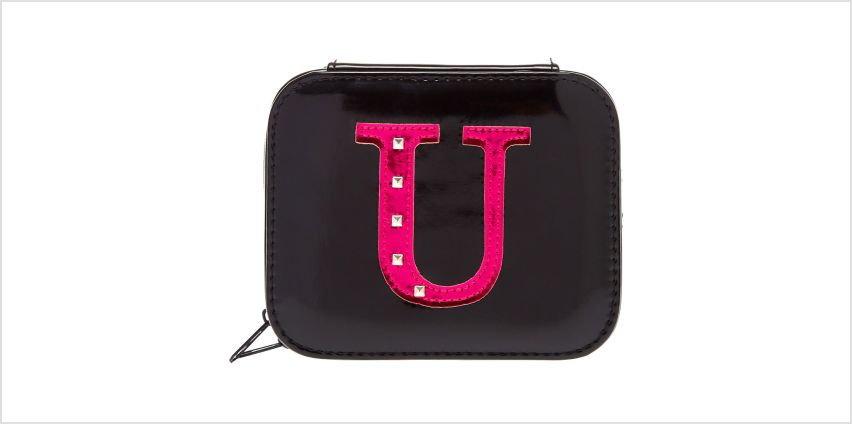 "Go to Product: Metallic Pink ""U"" Initial Jewellery Case from Claires"