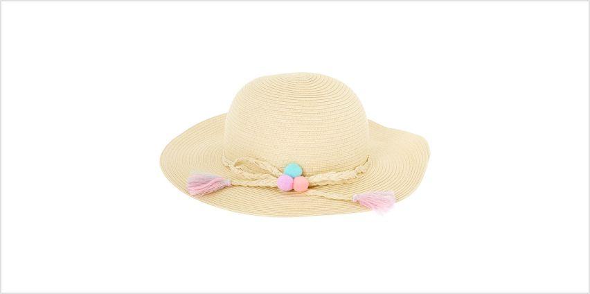 Go to Product: Claire's Club Pom Pom Floppy Straw Hat - Tan from Claires