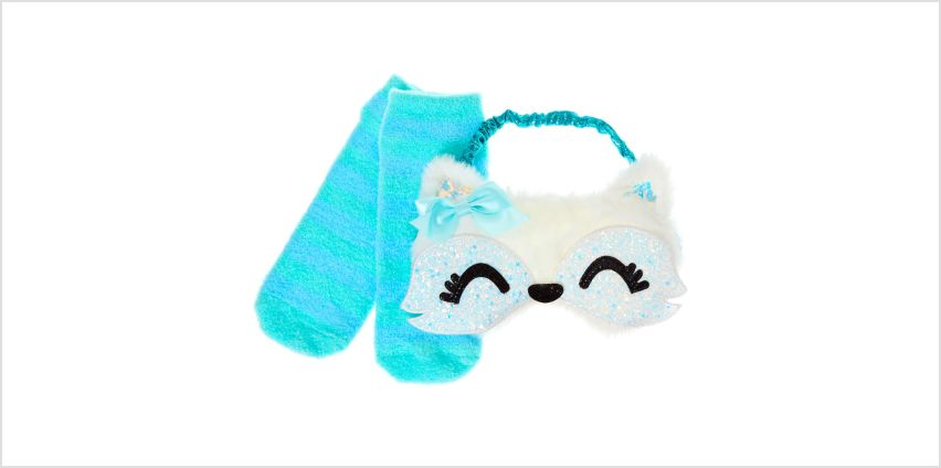Go to Product: Trixie the Fox Sleeping Mask & Sock Set from Claires