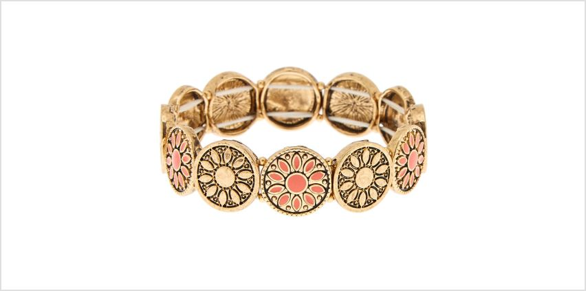 Go to Product: Gold Medallion Stretch Bracelet - Coral from Claires