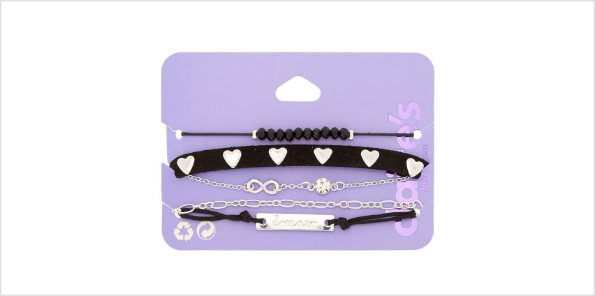 Go to Product: Silver Dreamer Chain Bracelets - Black, 5 Pack from Claires