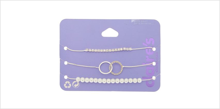 Go to Product: Silver Embellished Adjustable Bracelets - 3 Pack from Claires